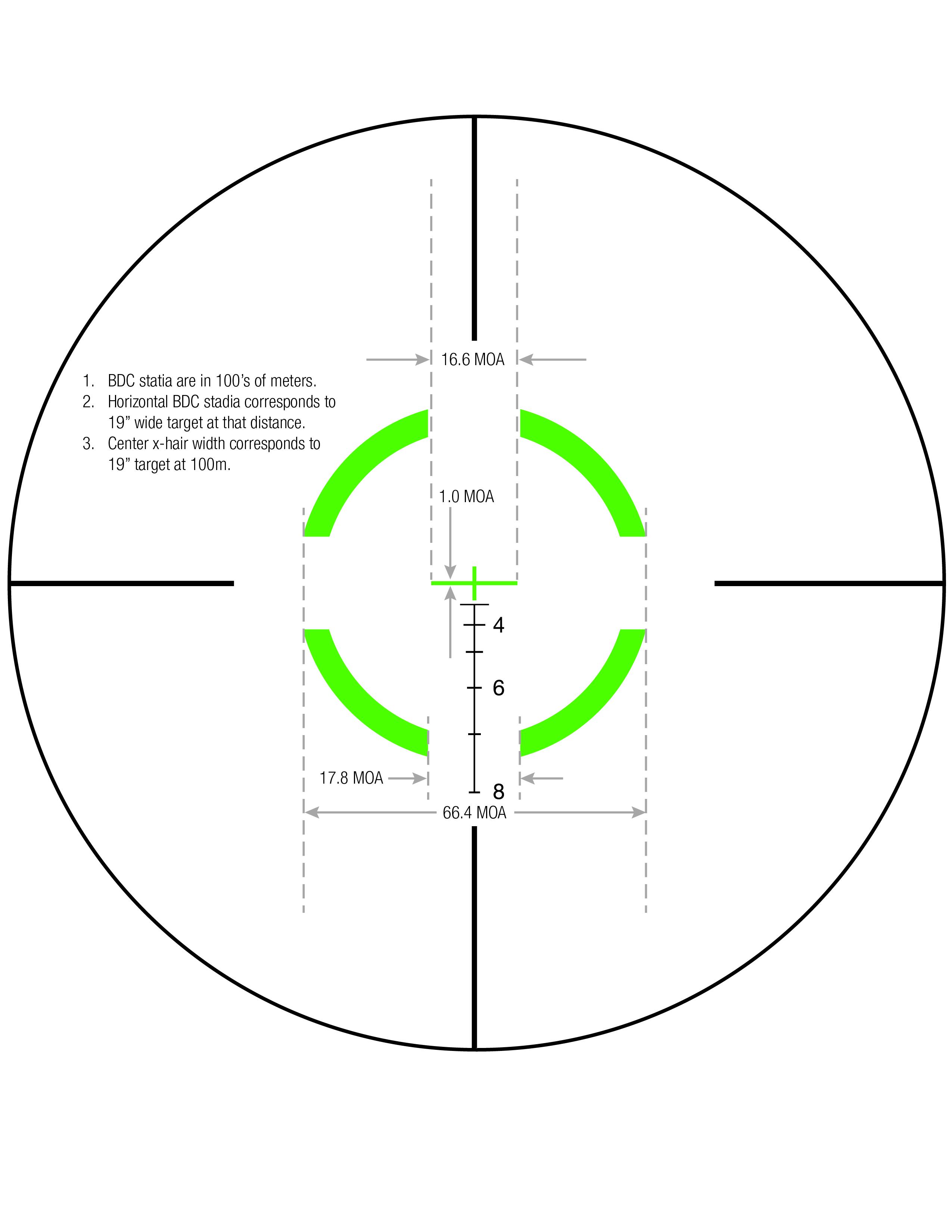 Download Segmented Circle Crosshair .223 / 55gr Reticle Measurements