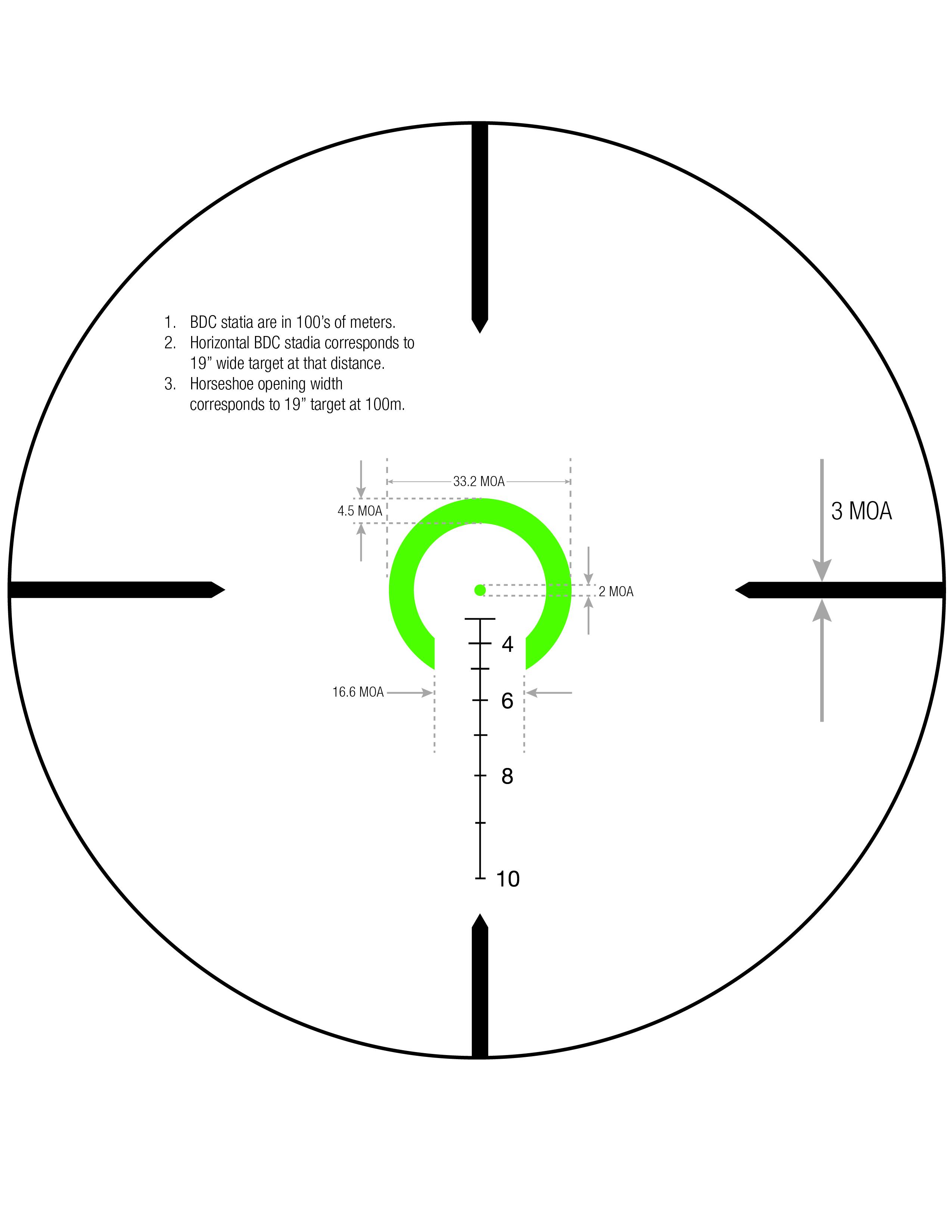 Download Horseshoe Dot Crosshair .308 / 175gr Reticle Measurements