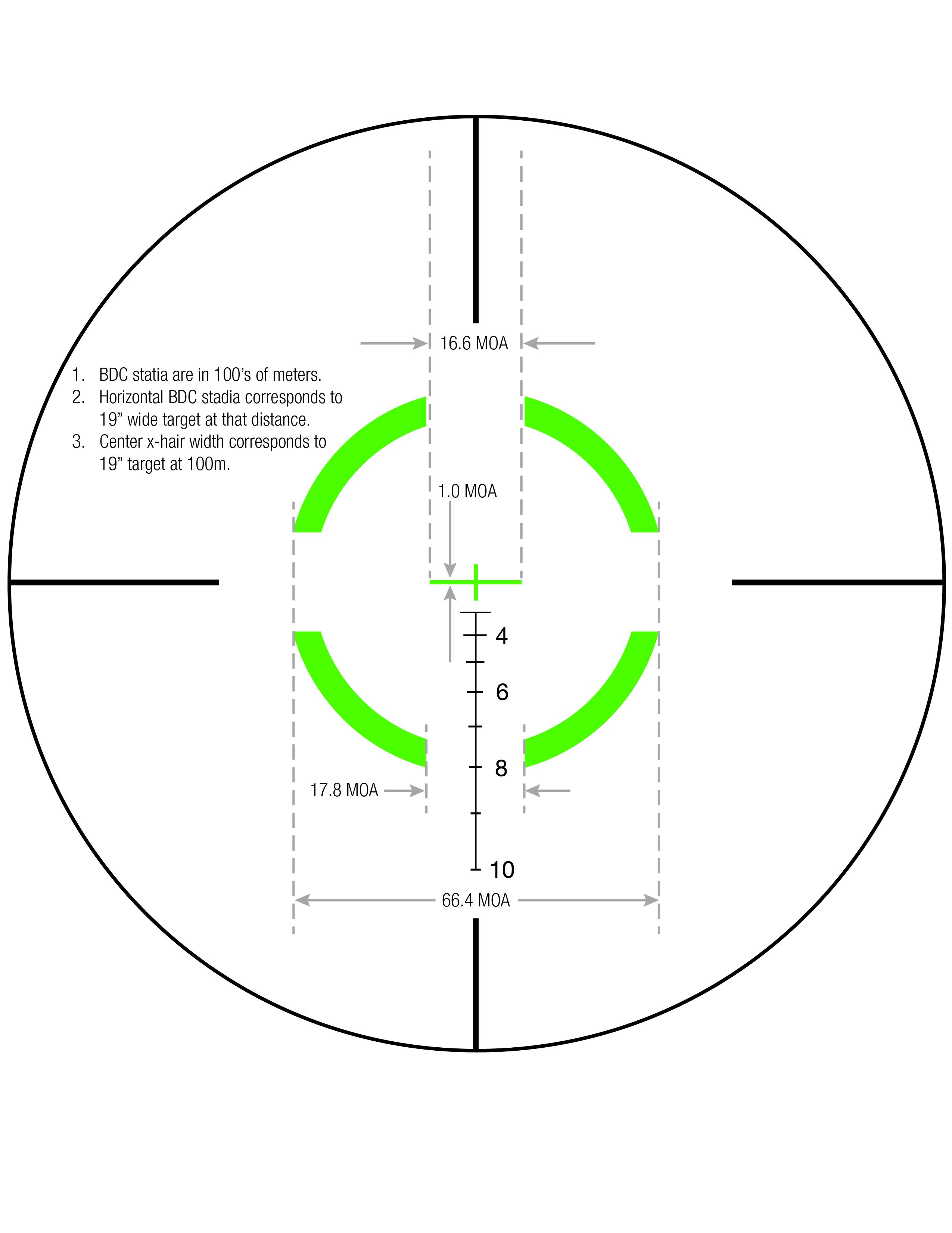 Download Segmented Circle Crosshair .308 / 175gr Reticle Measurements
